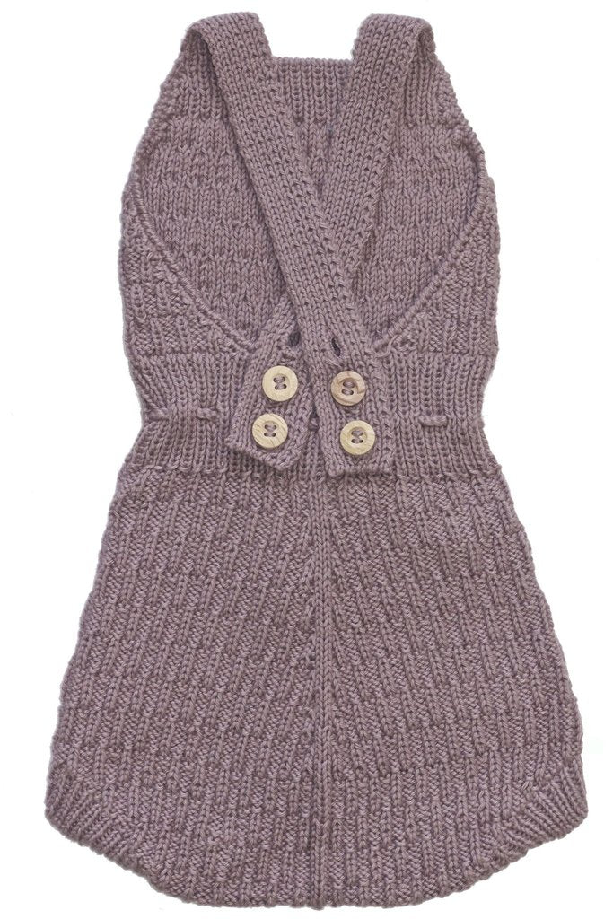 Back of Miou organic cotton Caterpillar romper in plum