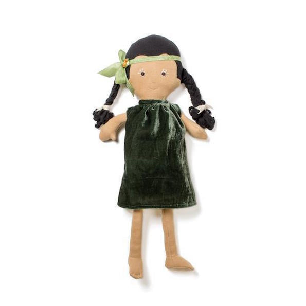 Hazel Village organic cotton Celia toy wearing moss velvet dress and headband