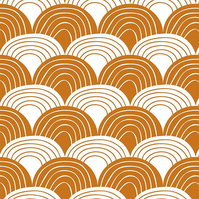 Swedish Linens Cinnamon Rainbows organic cotton sheet