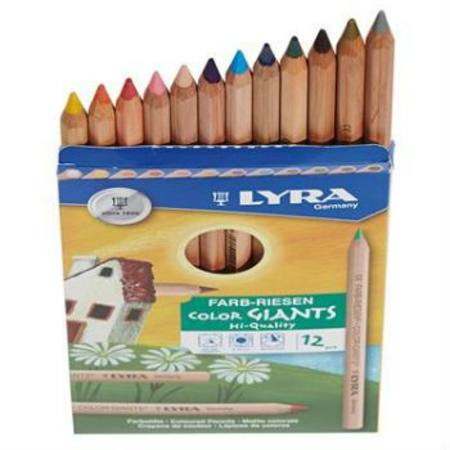 Lyra Colour Giants coloured pencils - 12 with gold and silver