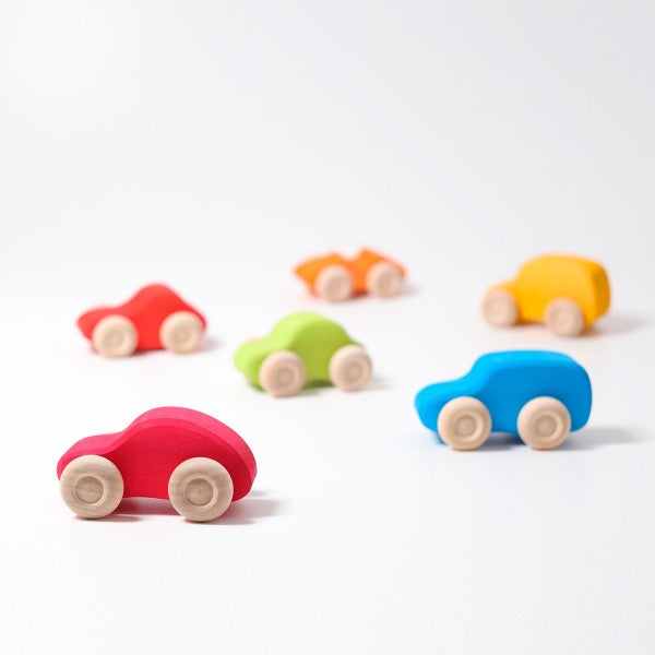Grimm's coloured wooden cars - set of 6