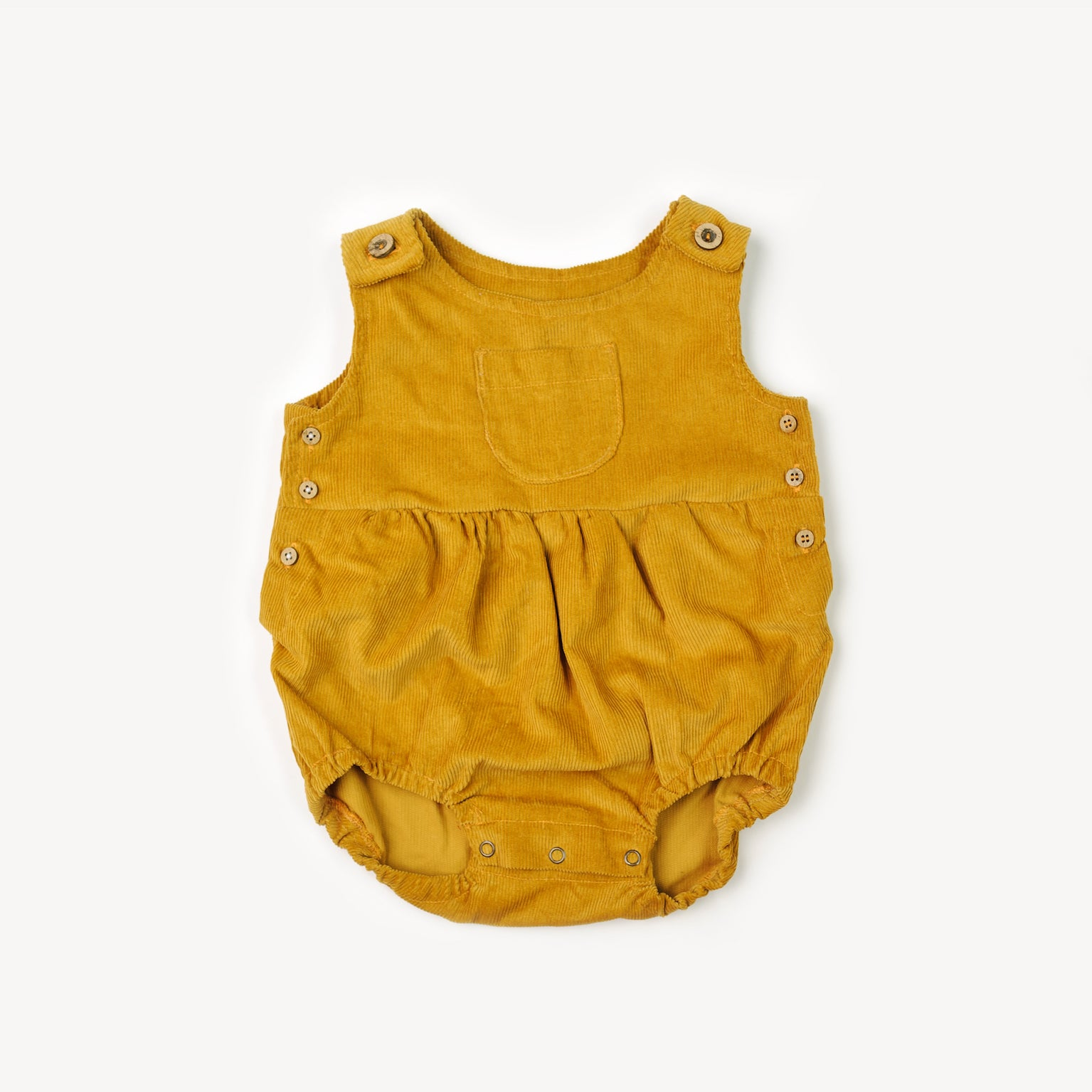 66d7eafc68 Fin and Vince corduroy cotton baby romper in mustard yellow