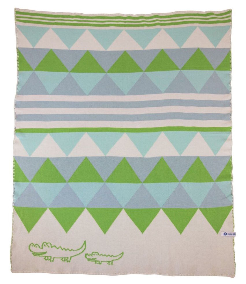 Koala Bubs organic cotton baby blanket in crocodile print