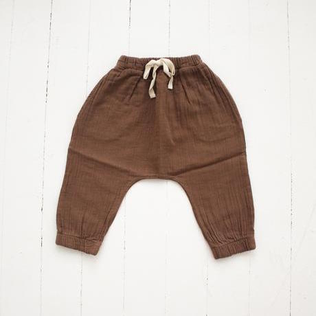 Fin and Vince Organic Cotton Gauze Cozy Bubble Pants Mushroom