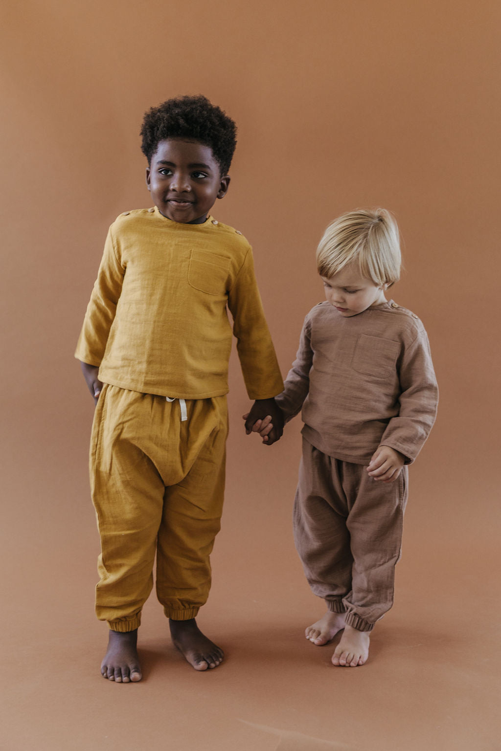 Fin and Vince Organic Cotton Gauze Cozy Bubble Pant Mushroom