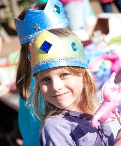 Children wearing Sarah's Silks reversible silk crown - rainbow sky