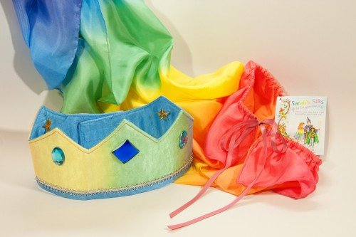 Sarah's Silks reversible silk crown - rainbow sky