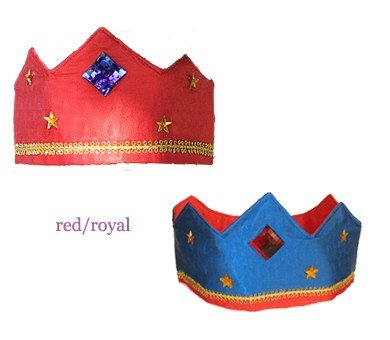 Sarah's Silks reversible silk crown - red and royal blue