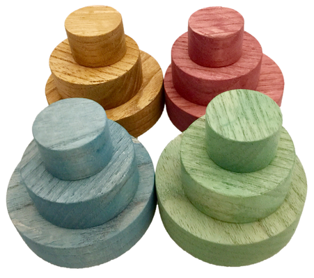 Papoose Set of 12 Wooden Earth Discs