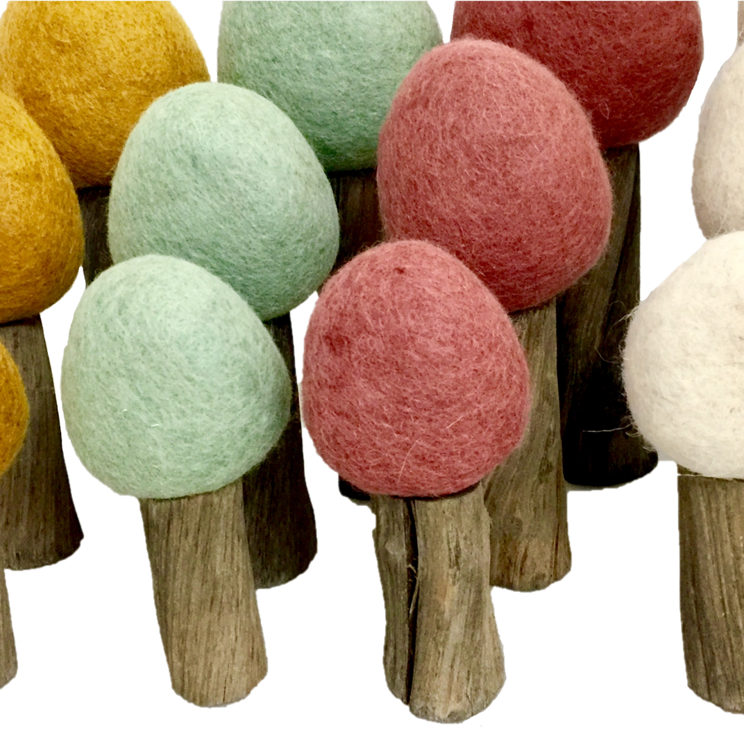 Papoose Earth Forest - Set of 12 Felt and Wood Trees