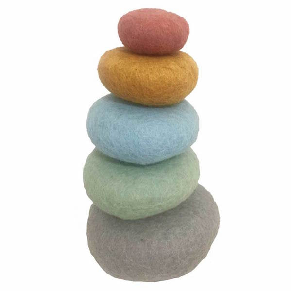Papoose Earth Stacking Set of 5 pure wool felt pebbles
