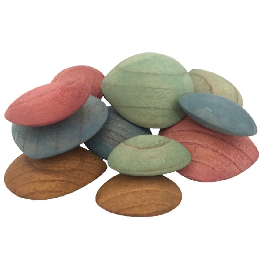 Papoose earth wooden pebbles - 12 pieces