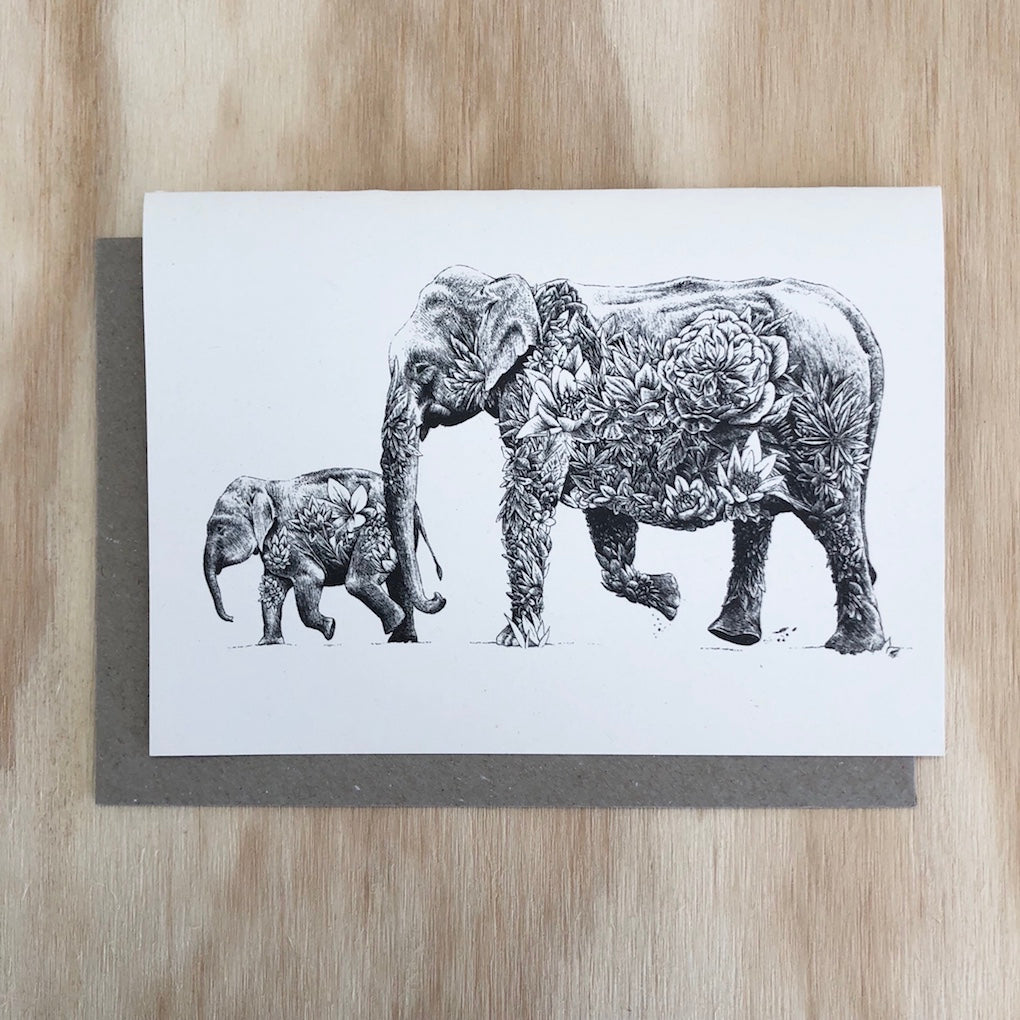 Marini Ferlazzo Asian elephants greeting card - front cover with illustration of mother elephant and baby elephant