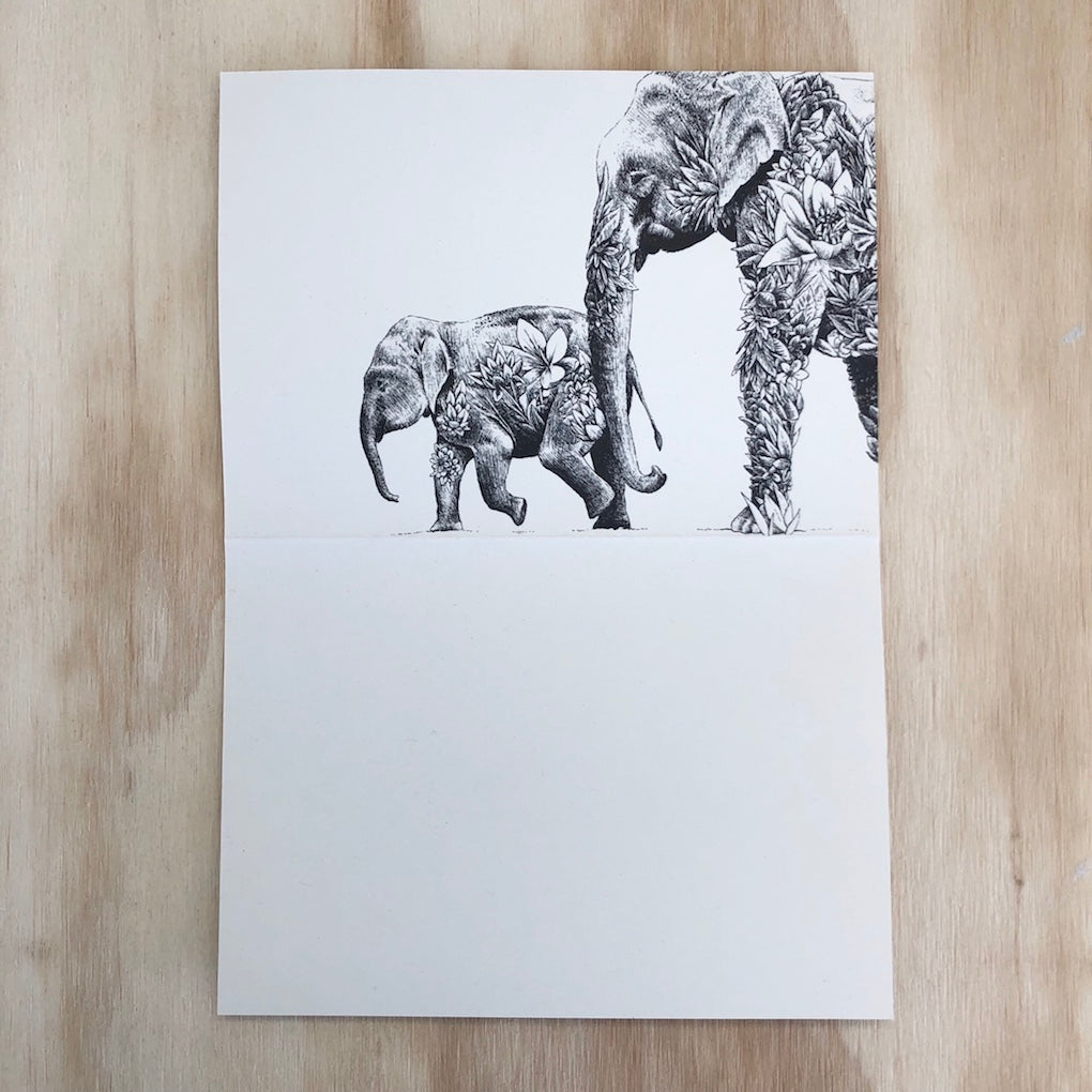Marini Ferlazzo Asian elephants greeting card - open showing the inside with illustration of mother elephant and baby elephant