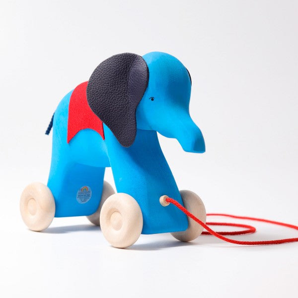 Grimm's Otto the Blue Elephant Handcarved Wooden Pull Along