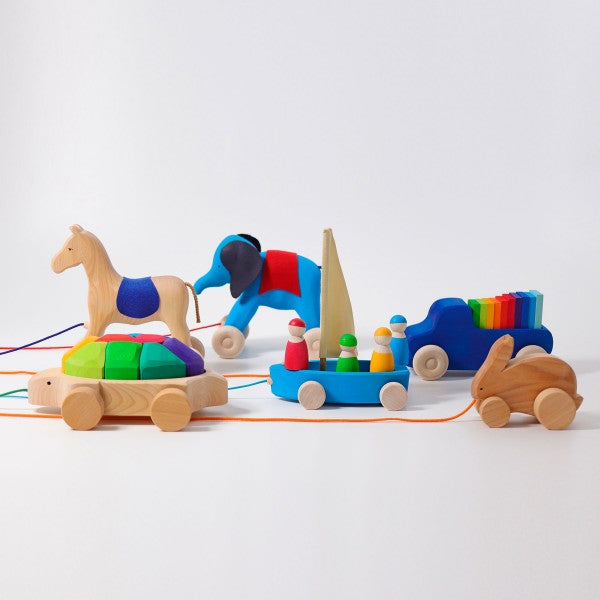 Grimm's Spiel and Holz Otto the Blue Wooden Elephant Pull Along