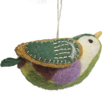 Papoose pure wool felt bird - green, brown and purple