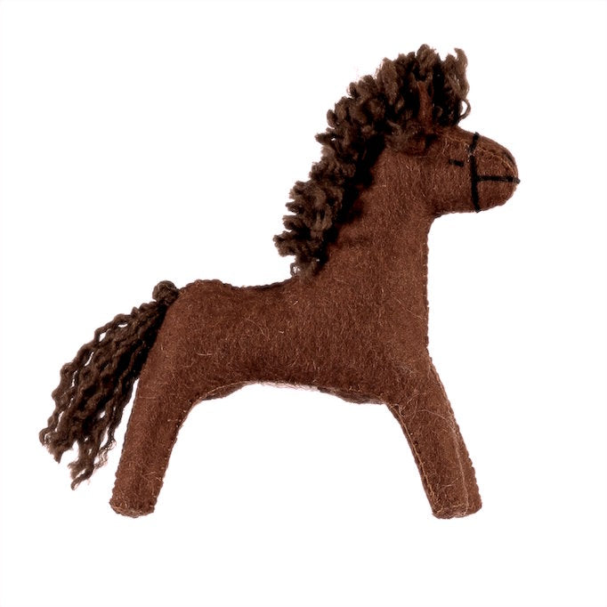 Gluckskafer handmade felt wool large red brown horse