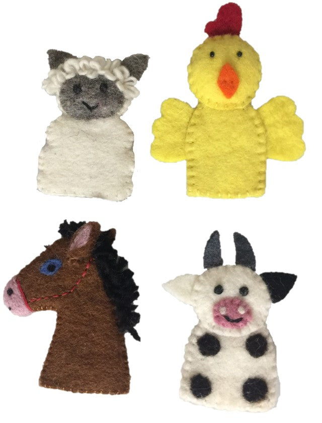 Papoose wool finger puppets - farm animals