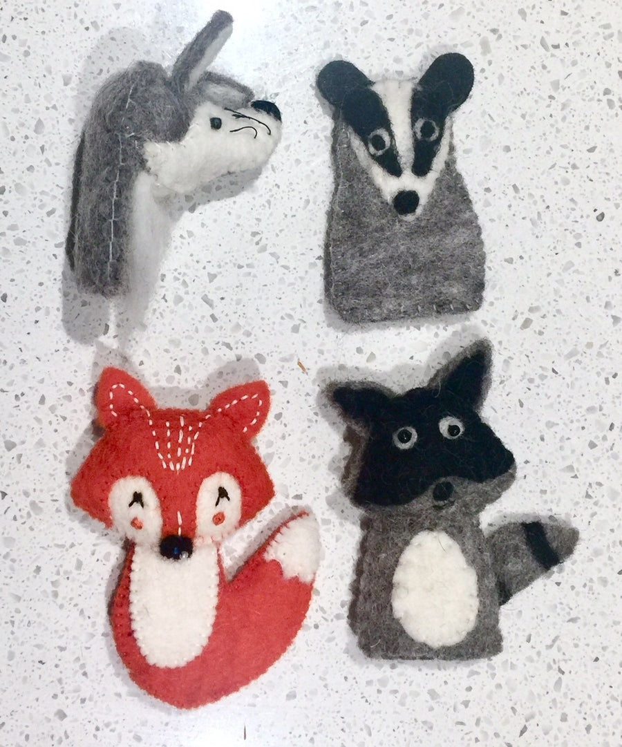 Papoose pure wool felt finger puppets - woodland animals