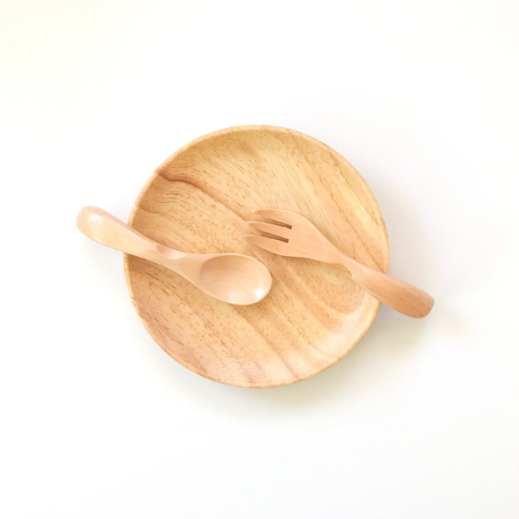 Dove and Dovelet first feeding set - eco wooden plate and cutlery set