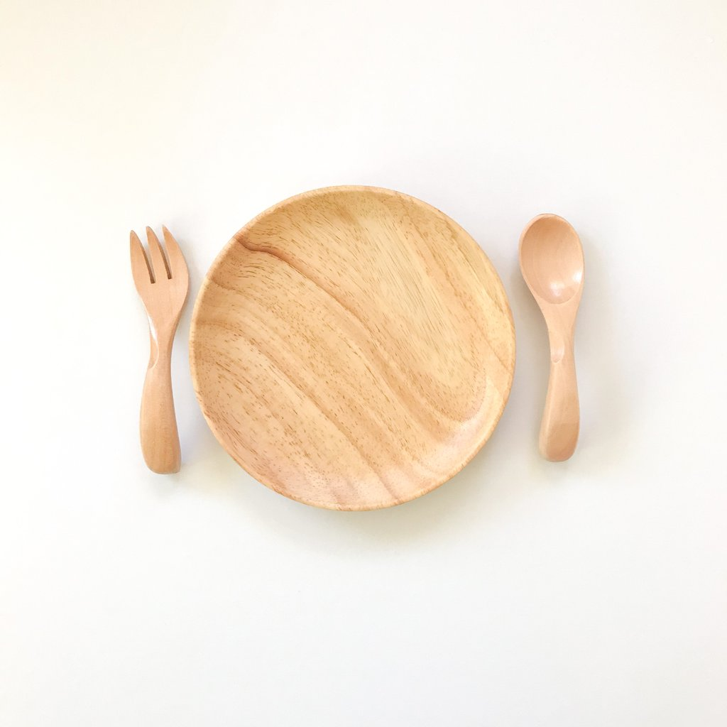 Dove and Dovelet first feeding set - eco wooden plate with fork and spoon