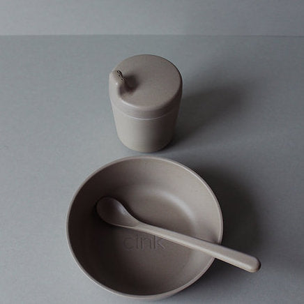 Cink Bamboo baby dinnerware including bowl, sippy cup and spoon in the colour fog, a neutral light grey