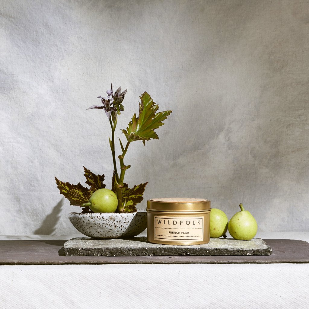 Wildfolk Soy Candle in gold travel tin - French Pear