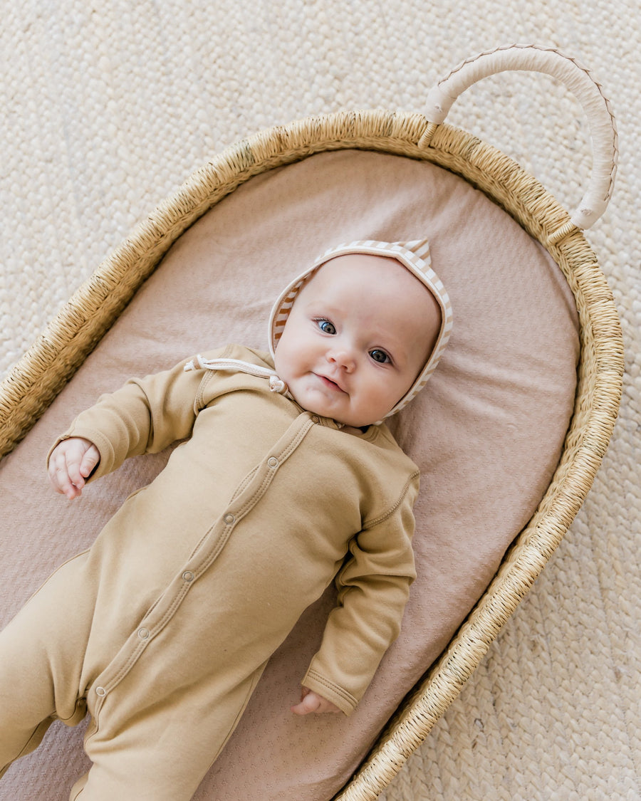 Quincy Mae organic cotton full snap footie - honey