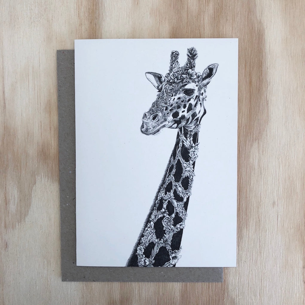 Marini Ferlazzo West African Giraffe greeting card - front cover with close up illustration of a West African giraffe