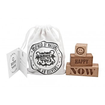 Wooden Story On My Mind Blocks - set of 3 blocks with engraved words - Happy and Now in a cotton sack