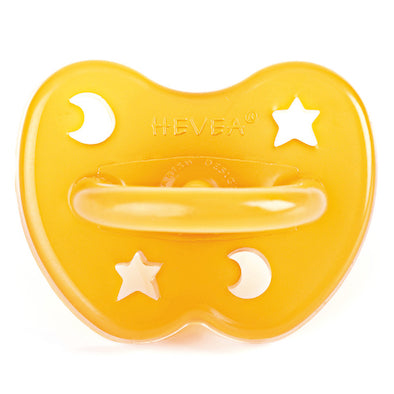 Hevea natural rubber pacifier with star and moon shape cut outs