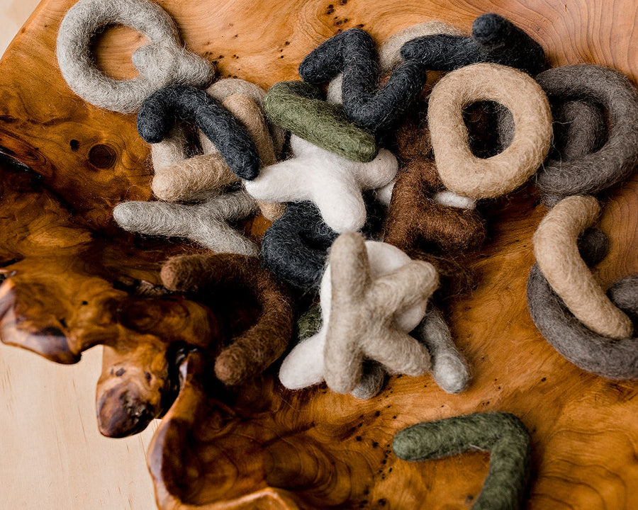 Papoose alphabet - uppercase letters - made from fairtrade pure wool
