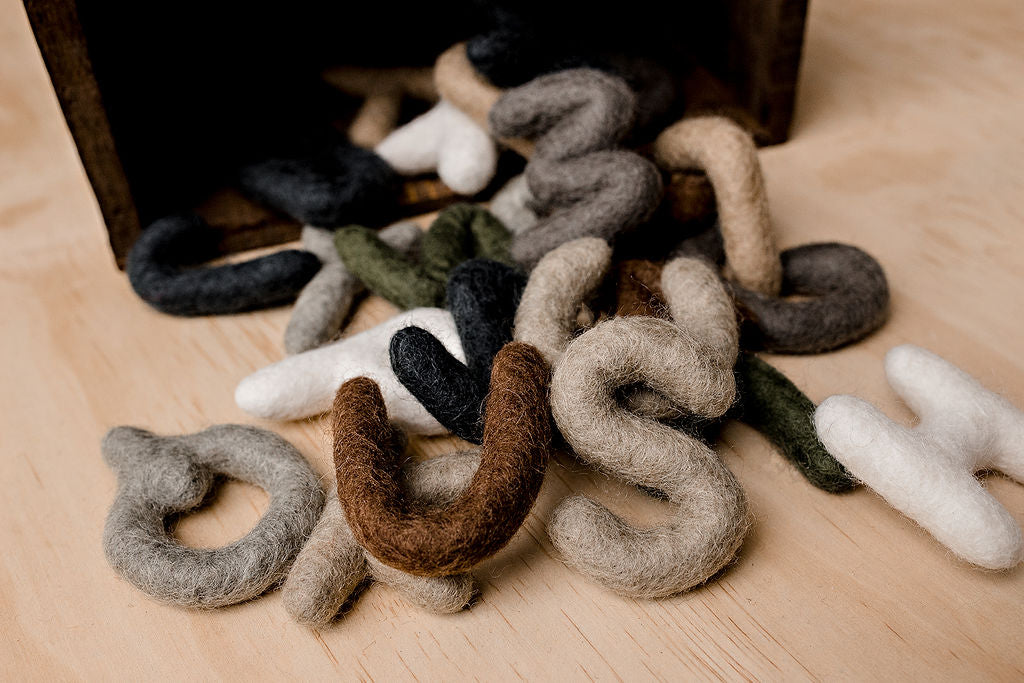 Papoose felt uppercase alphabet - handmade in Nepal from pure wool
