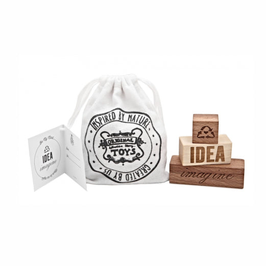Wooden Story On My Mind Blocks - set of 3 blocks with engraved words - Imagine and Idea in a cotton sack