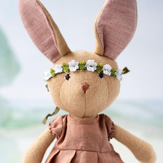 Hazel Village Juliette Rabbit in Clay Linen Dress and Flower Crown