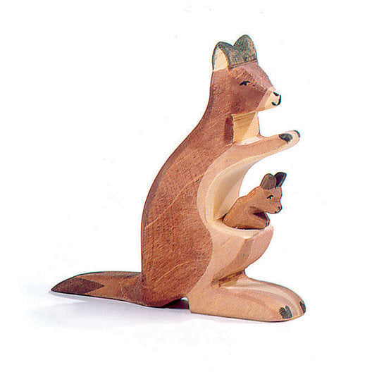 Ostheimer wooden toy - Kangaroo Mother with Baby Joey