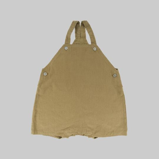 Omibia Karin linen dungarees in light oak