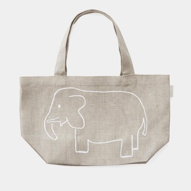Fog Linen Work kids natural linen bag with screen printed elephant picture