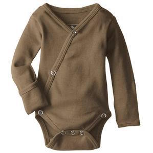 Loved Baby organic cotton long sleeve kimono bodysuit in bark brown