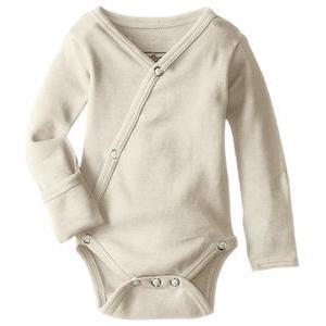 Loved Baby organic cotton long sleeve kimono bodysuit in beige