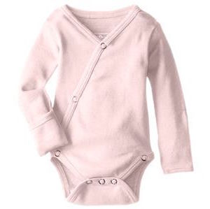 Loved Baby organic cotton long sleeve kimono bodysuit in blush pink