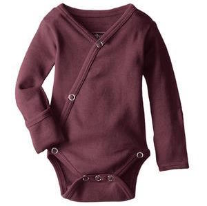 Loved Baby organic cotton long sleeve kimono bodysuit in eggplant