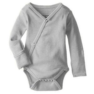 L'oved Baby organic cotton kimono long sleeved bodysuit in light grey