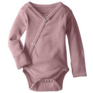 Loved Baby organic cotton long sleeve kimono bodysuit in mauve