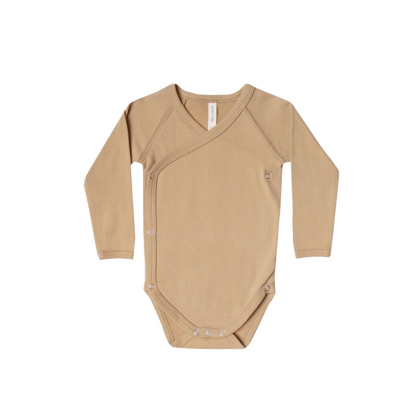 Quincy Mae organic cotton kimono onesie in honey