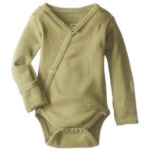 Loved Baby organic cotton long sleeve kimono bodysuit in sage green