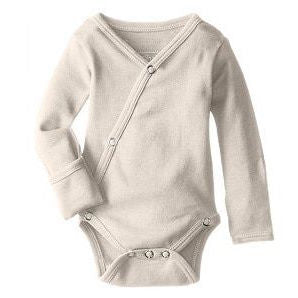 Loved Baby organic cotton long sleeve kimono bodysuit in stone