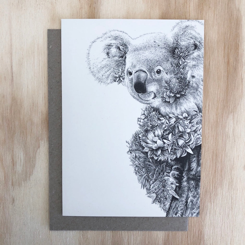 Marini Ferlazzo Koala greeting card - front cover with illustration of Australian koala
