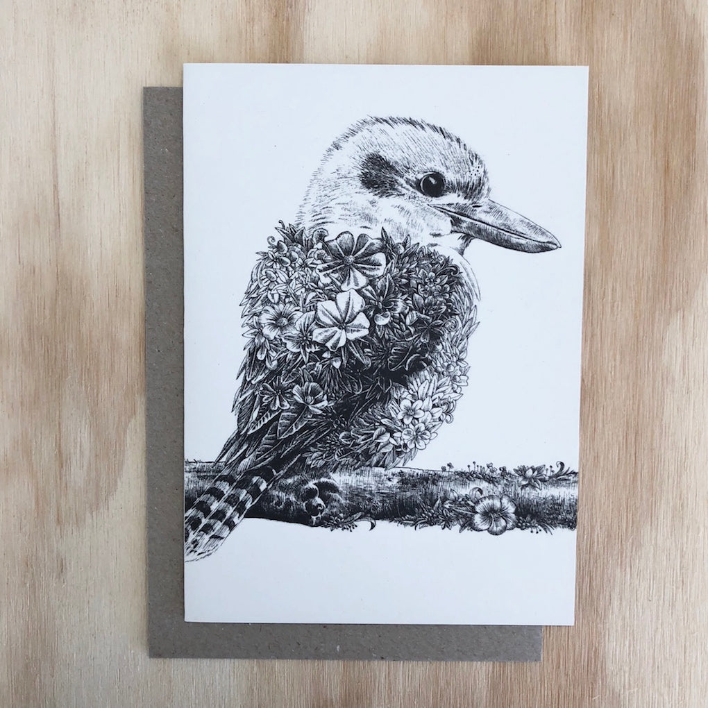 Marini Ferlazzo Kookaburra greeting card - front cover with illustration of an Australian Kookaburra